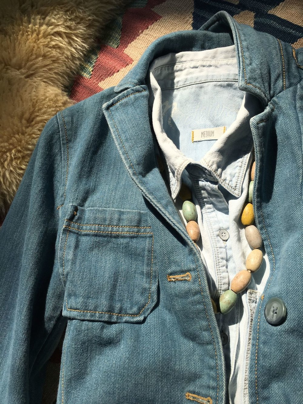 Denim Blazer: Fashion Lay-down
