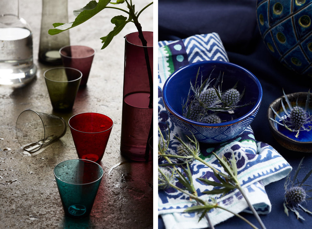 Mid Century Modern Glass/Blue Pottery