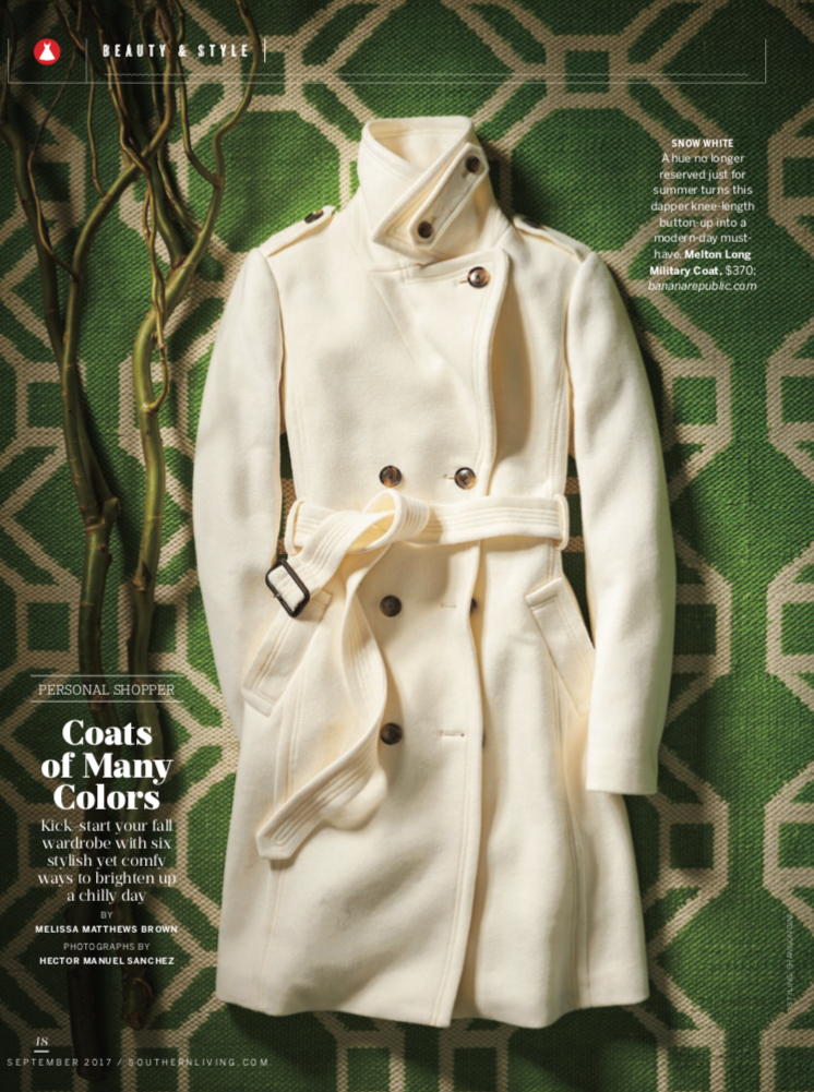Southern Living - Coats of Many Colors: Fashion Lay-down
