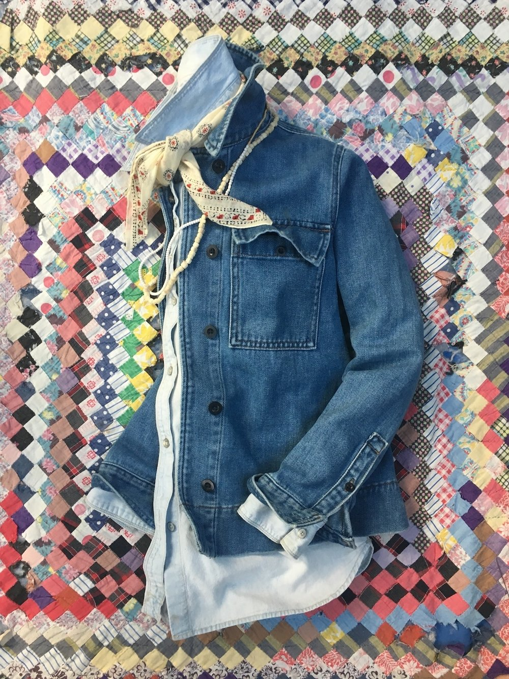Quilt & Denim Still Life: Fashion Lay-down
