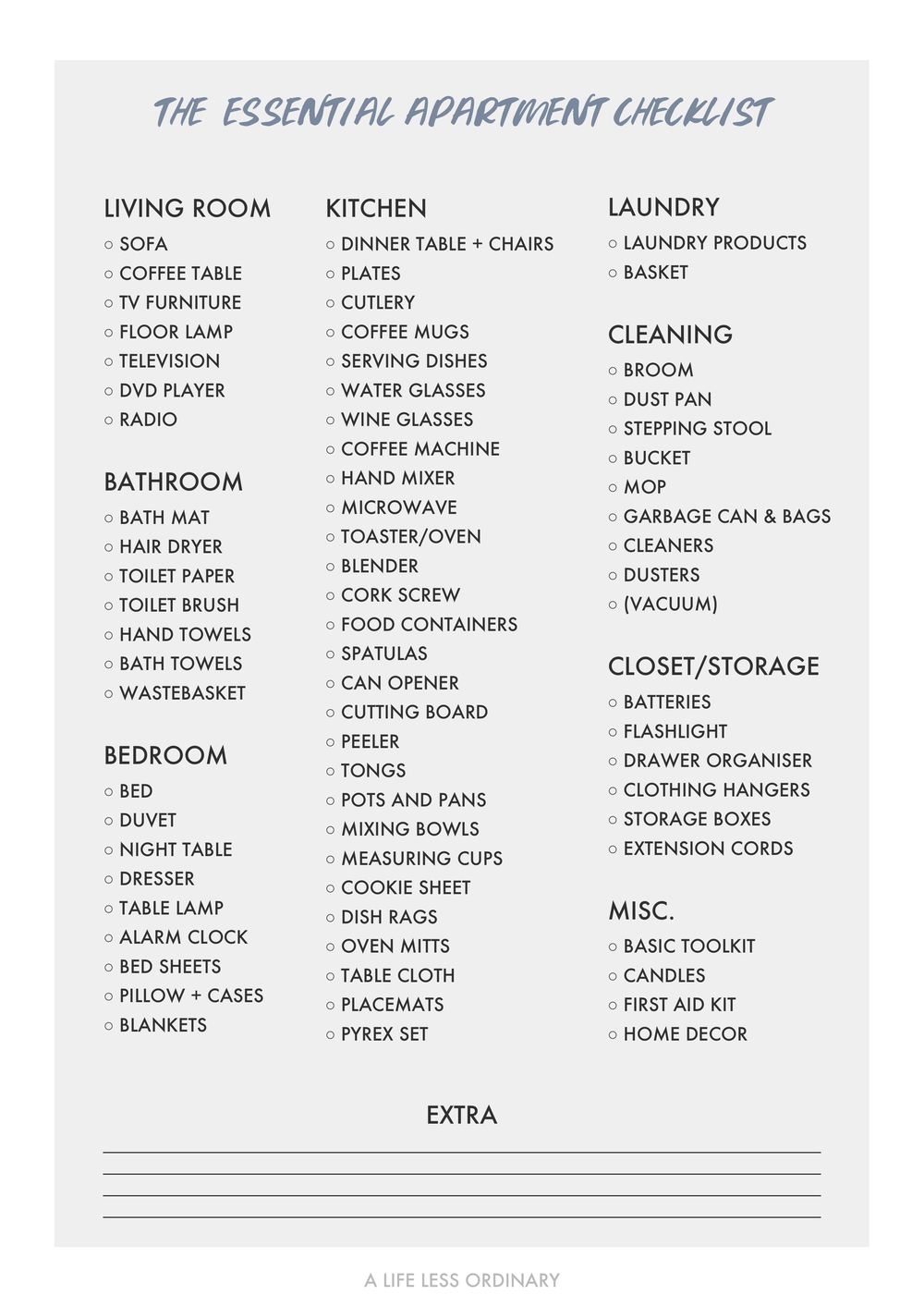 Beautiful 1st Apartment Checklist Pictures - Liltigertoo.com ...