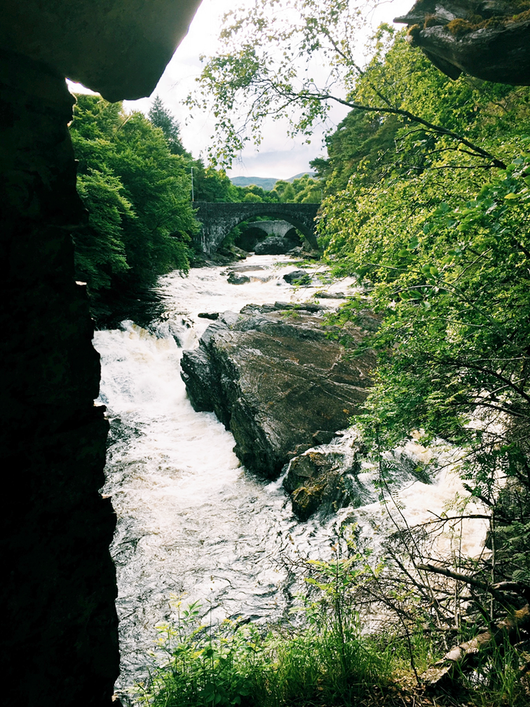 The double arch at Invermoriston Falls. View from an old Summer house of stone.