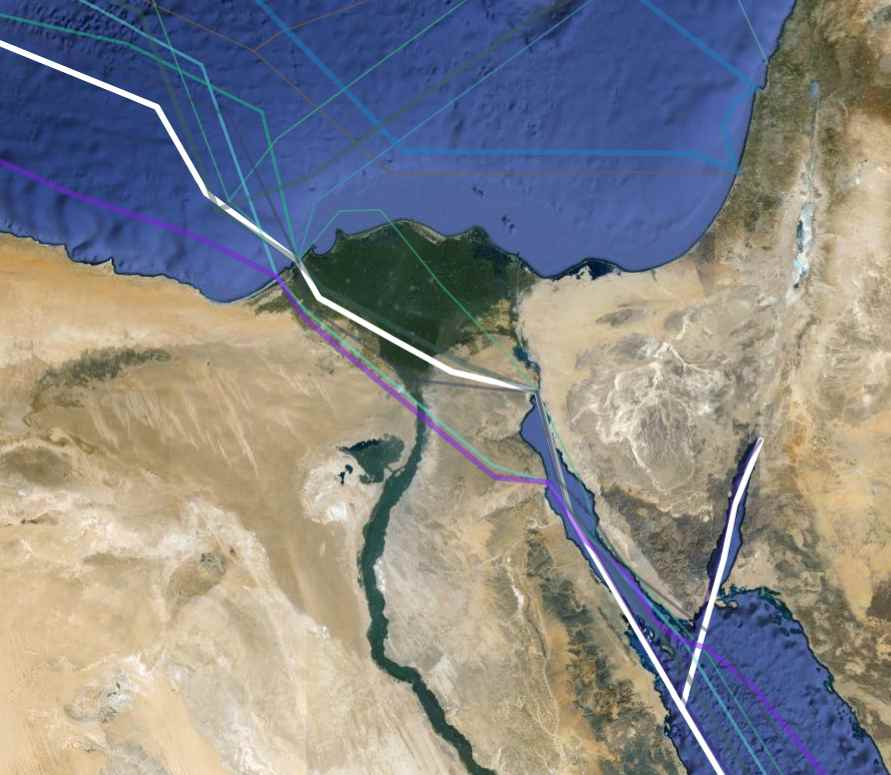 A map of FLAG's route overland through Egypt