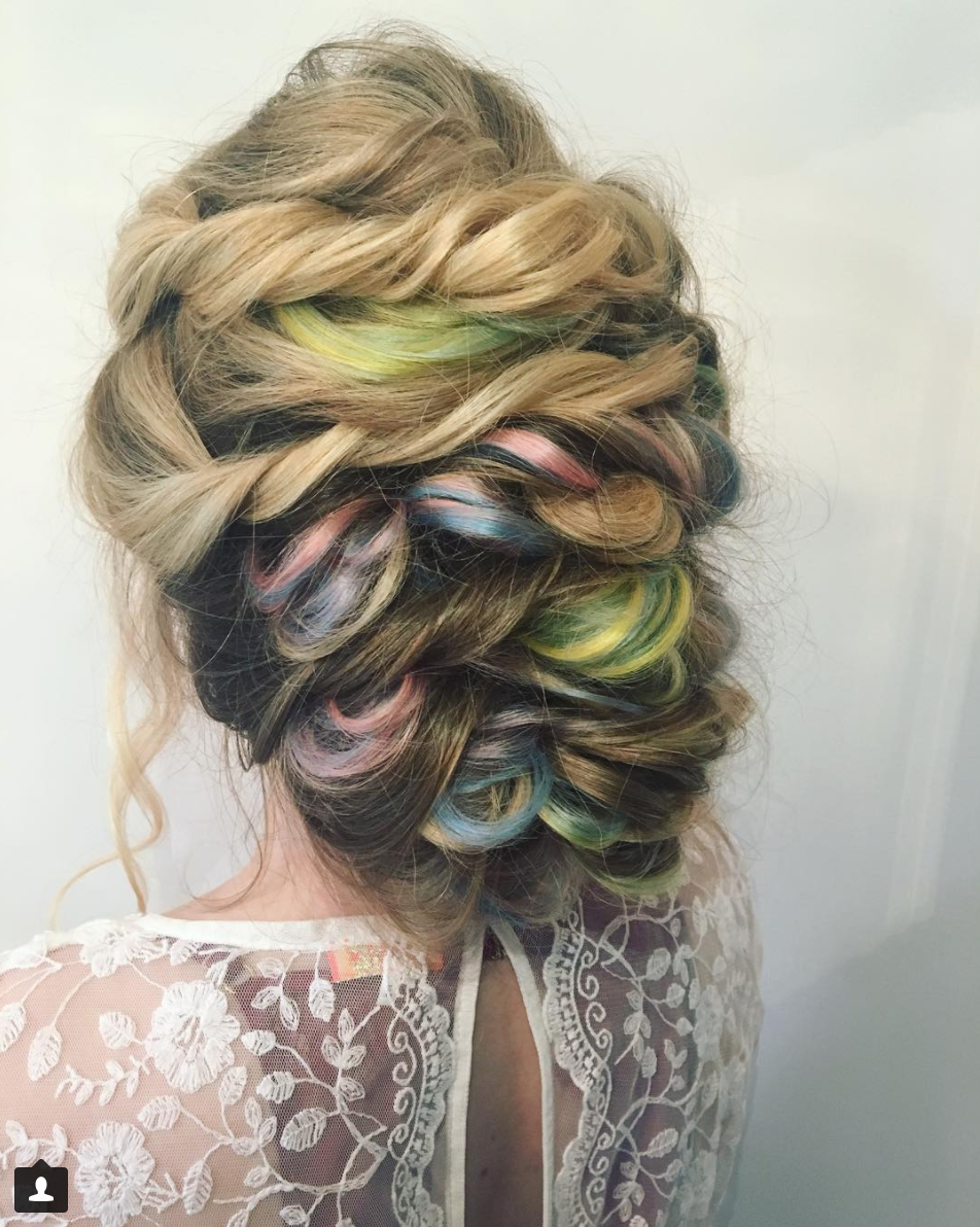 The back detail for this do I created using my  @societyextensions  to give it that colourful pop! She naturally has sooo much hair I was running out of places to put it all!! 😝💞  #hairstylist #hair   #hairstyle   #hairgoals   #hairartist   #hairdresser#salon #hairsalon #beauty #extensions #hairinspo #hairup #updo #vancouverhairstylist #stylist #fashion #vancouver #vancity #canada #bohochic #bohohair #ladyboss #rainbowhair #haircolor #bridebook #weddinghair #bridalhair #modernsalon