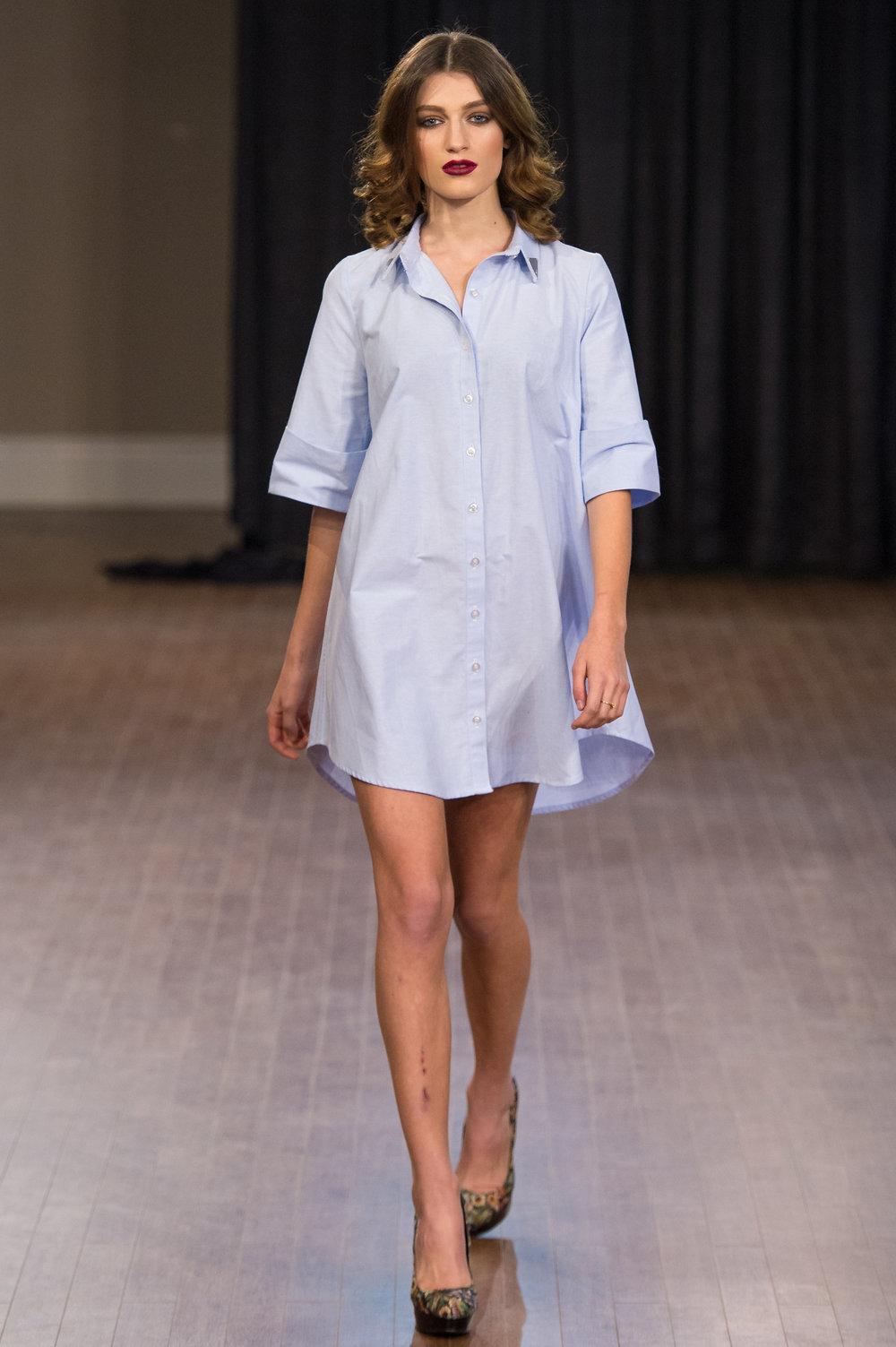 Look 02 -   Button Up Shirt Dress   Available Sizes:   XS/S   M/L   Available Colours:   White ( 97% Cotton / 3% Spandex)   Blue (100% Cotton)SOLD OUT