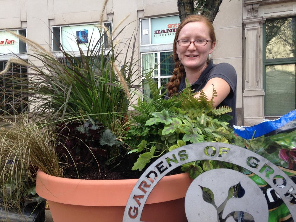 Maria, our horticulturist, competing in the INspired Beauty container competition