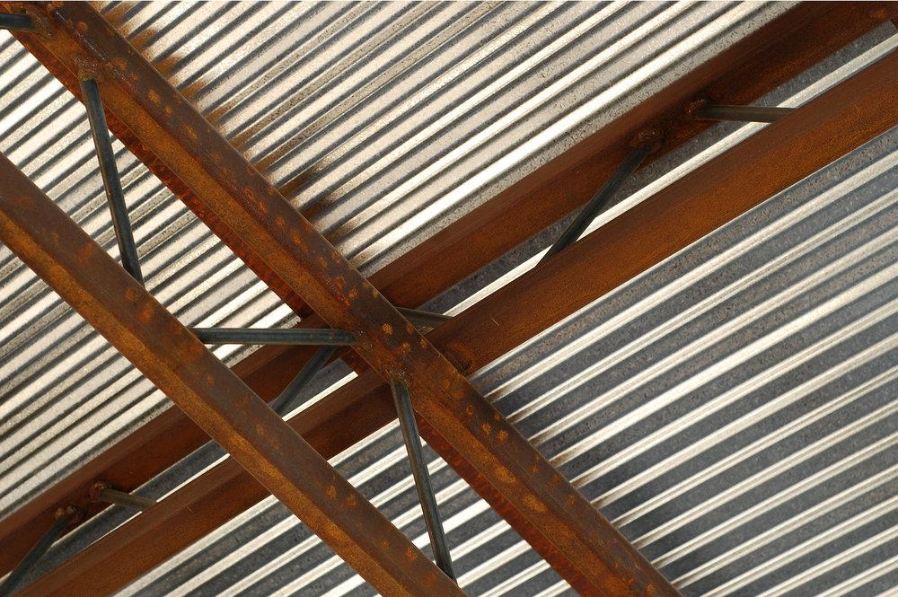 corten steel pergola indianapolis landscape
