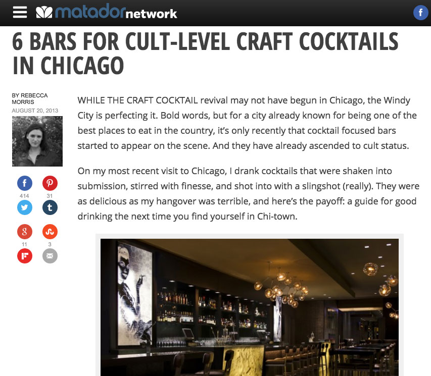 """6 Bars For Cult-Level Craft Cocktails in Chicago"""