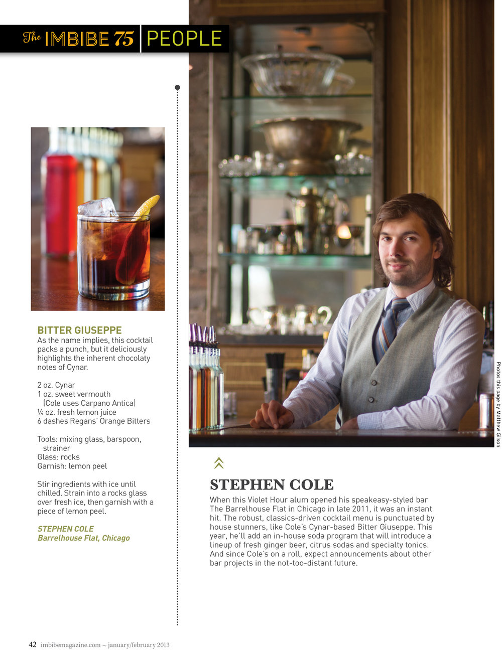 Imbibe Magazine Featuring Stephen Cole