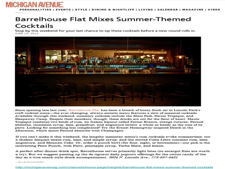 """Barrelhouse Flat Mixes Summer-Themed Cocktails"""