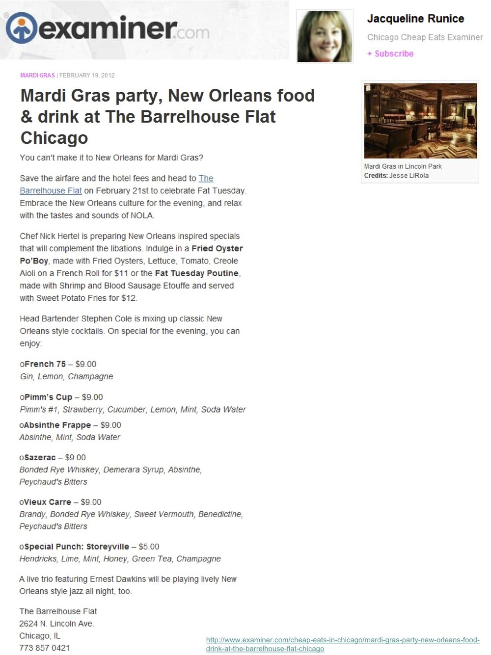 """Mardi Gras party, New Orleans food & drink at the Barrelhouse Flat Chicago"""