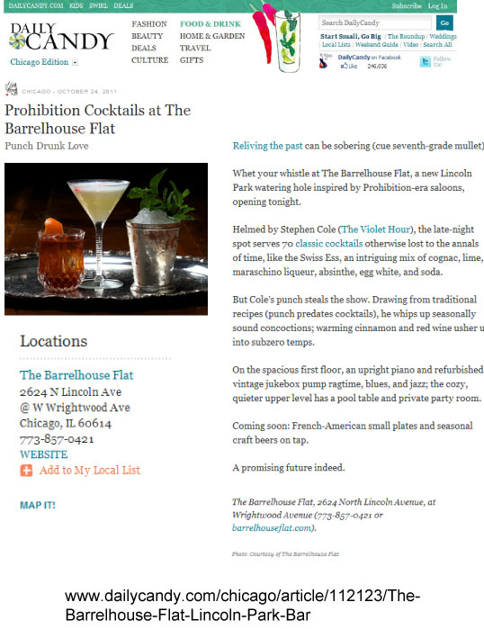 Prohibition Cocktails at The Barrelhouse Flat