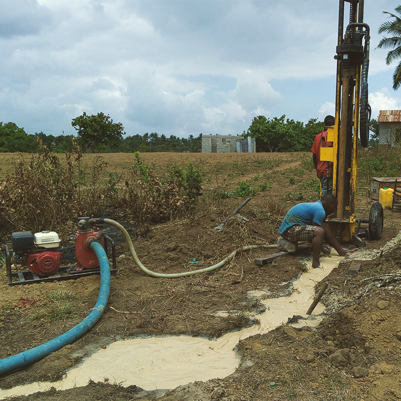Water well being drilled