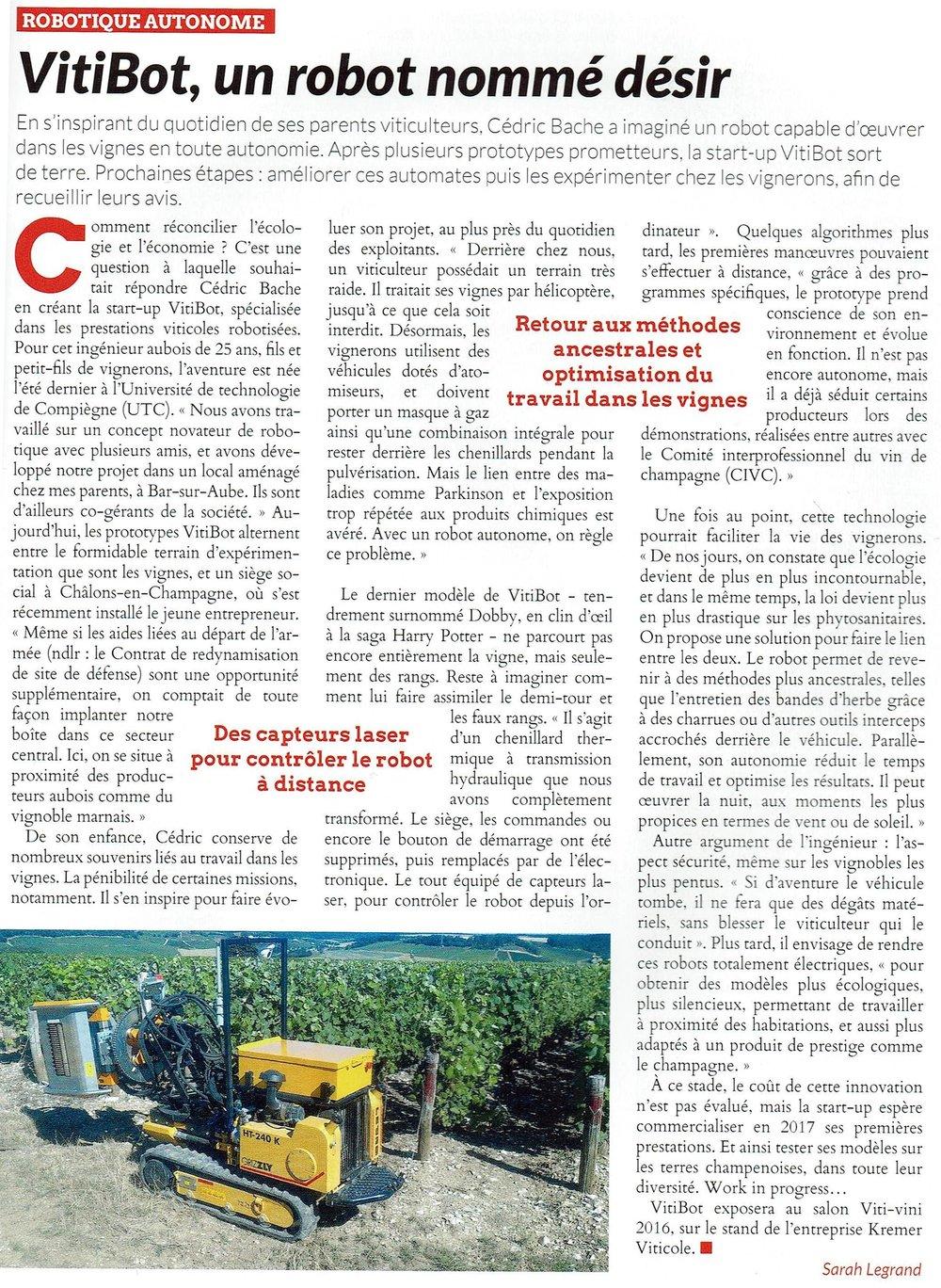 Article Champagne Viticole Vitibot : Un robot nommé désir