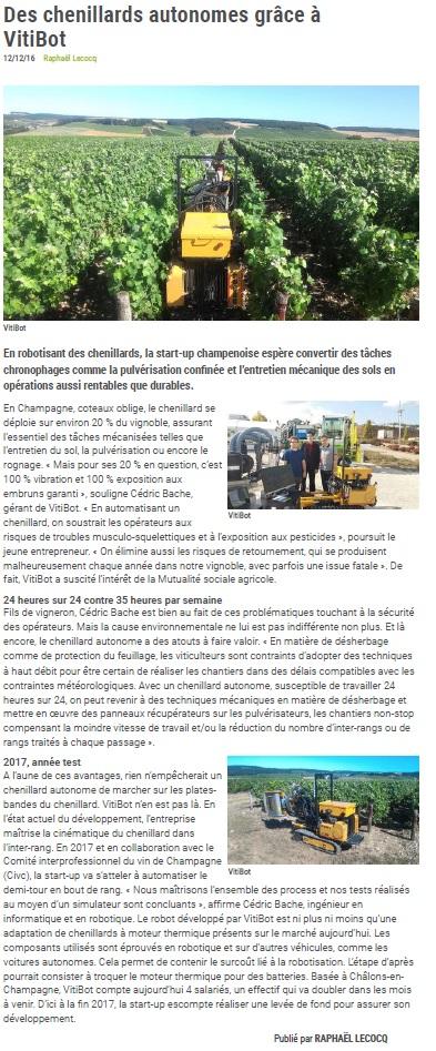 Article Vitibot Pleinchamp