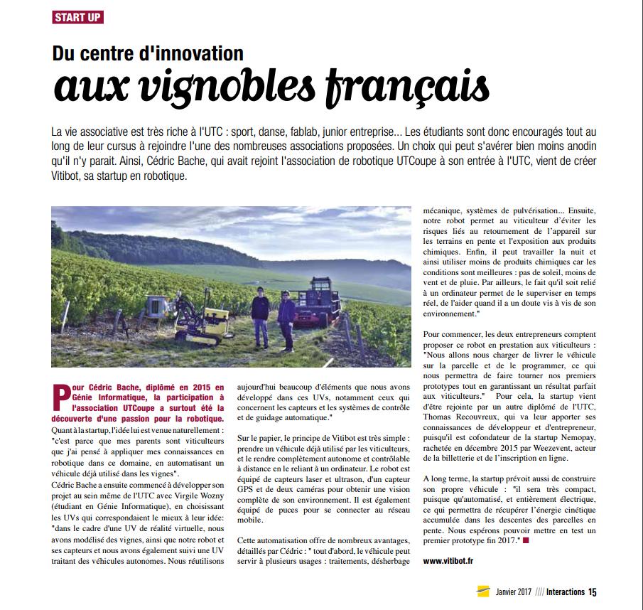 Un article du magazine interaction de l'UTC