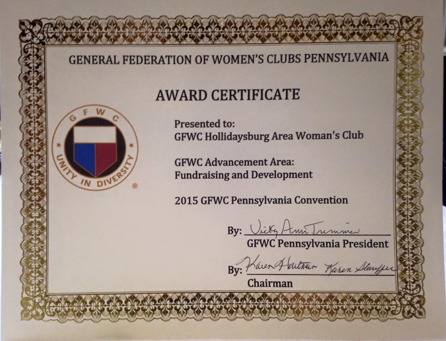 Our 2015 St Patrick's Day Dinner Dance received the GFWC Pennsylvania award for outstanding Fundraising at the GFWC PA Annual Convention held on May 15th, 16th, and 17th in Lancaster, Pennsylvania.