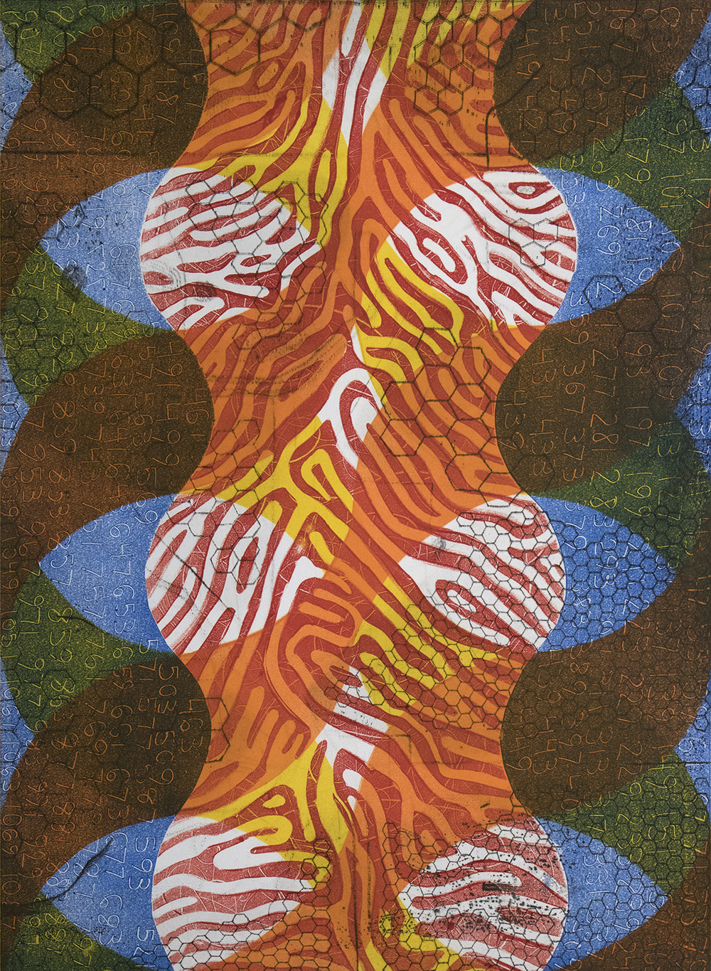 orient : dominate, v. 2, 2017, monoprint, 33 x 24 in