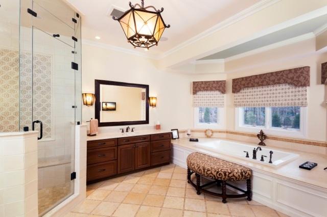 Bailiwick Interior Design - Classically Elegant Master Bath - Bay Window- Roman Shades.jpg