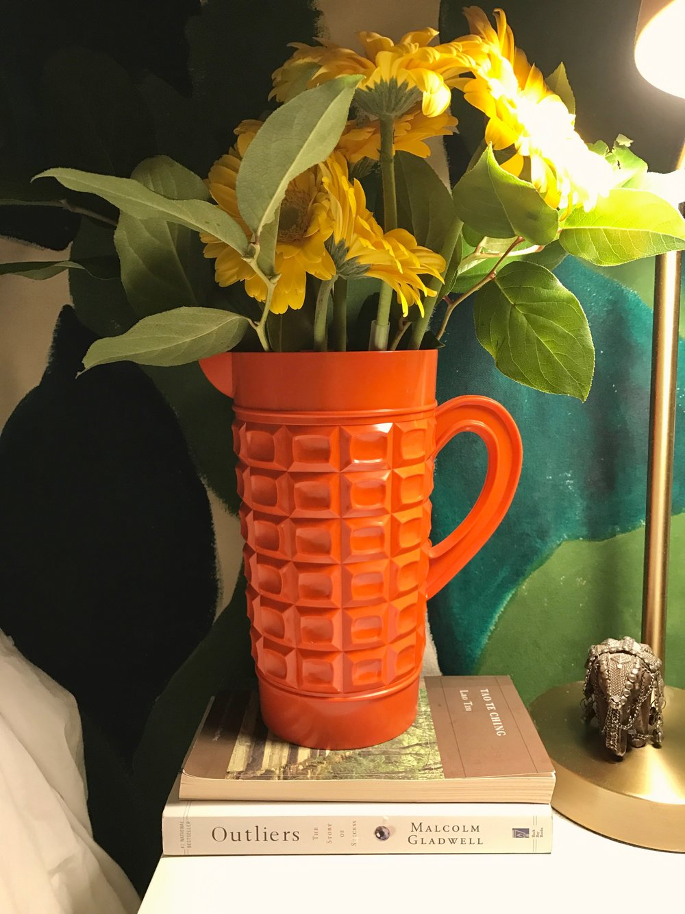 My favorite vintage pitcher from Brimfield makes a great flower vase (and I love that orange!)