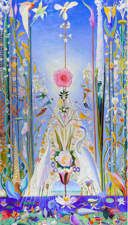 Joseph Stella,  Apotheosis of the Rose , 1926, 84 x 47 inches. Private Collection. Commissioned by Carl Weeks for his new home, Salisbury House, in Des Moines, Iowa, this painting was included in the first solo exhibition of Stella's work at the Valentine Gallery in April 1926.