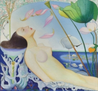 Joseph Stella,  Undine   (Ondine),  1924-25, 36 x 38 inches. Private Collection. Included in the April 1925 show at the Dudensing Galleries,  Undine was  sold by Dudensing to Stephen C. Clark probably in the spring of 1926.