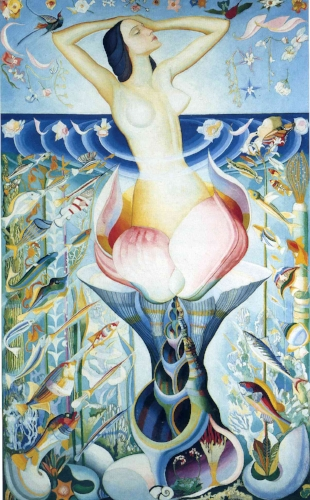 Joseph Stella,  The Birth of Venus , 1925, 85 x 53 inches. Current Location Unknown. Included in the April 1925 exhibition at the Dudensing Galleries, this was acquired from the artist by Carl Weeks.