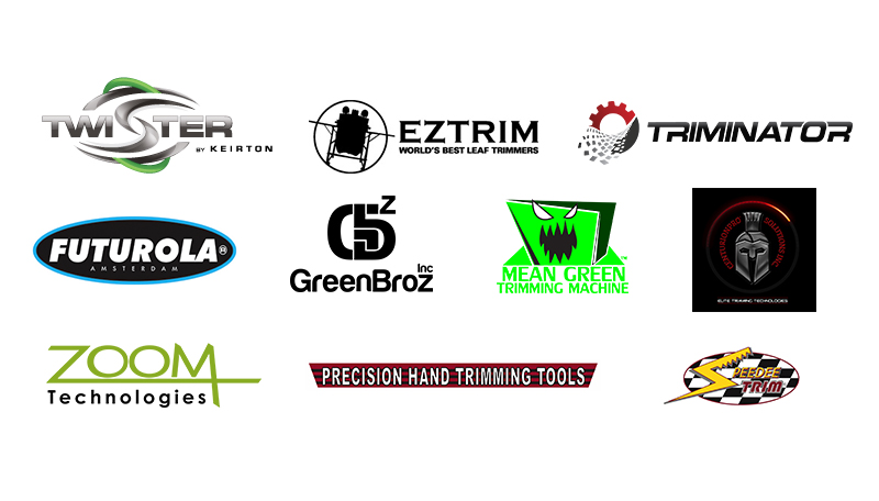 Twister, Extrim, Terminator, Futurola, GreenBroz, Mean Green Trimming Machine, Zoom Technologies, Precision Hand Trimming Tools, Speedee Trim, automated cannabis trimming machines
