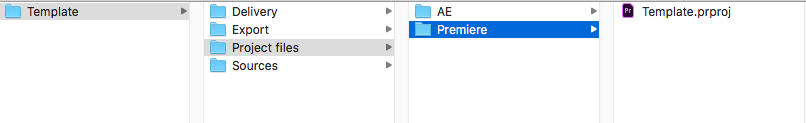 Where I keep my Premiere Pro project template. I always rename this to match the project name once I am starting a project.