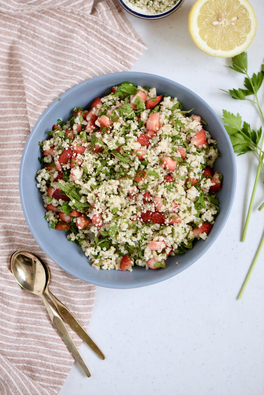 Strawberry & Hemp Seed Tabbouleh - Click here for recipe