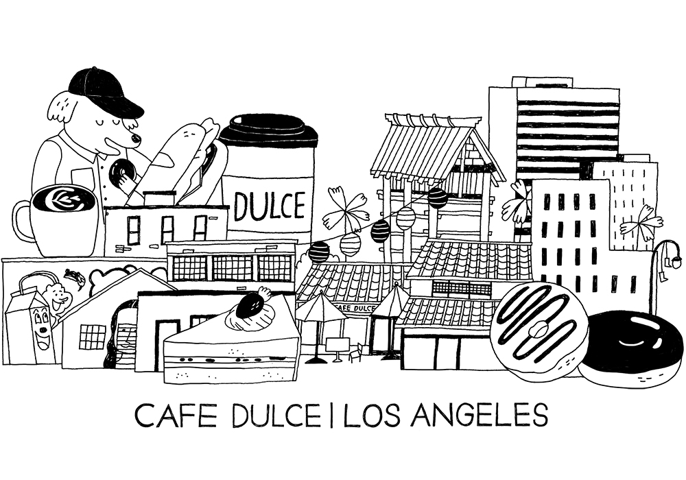 Frequent illustrator for Downtown LA's coffee shop,  Cafe Dulce . Branding work includes illustrations used for shop's website, social promotions, and retail merchandise.
