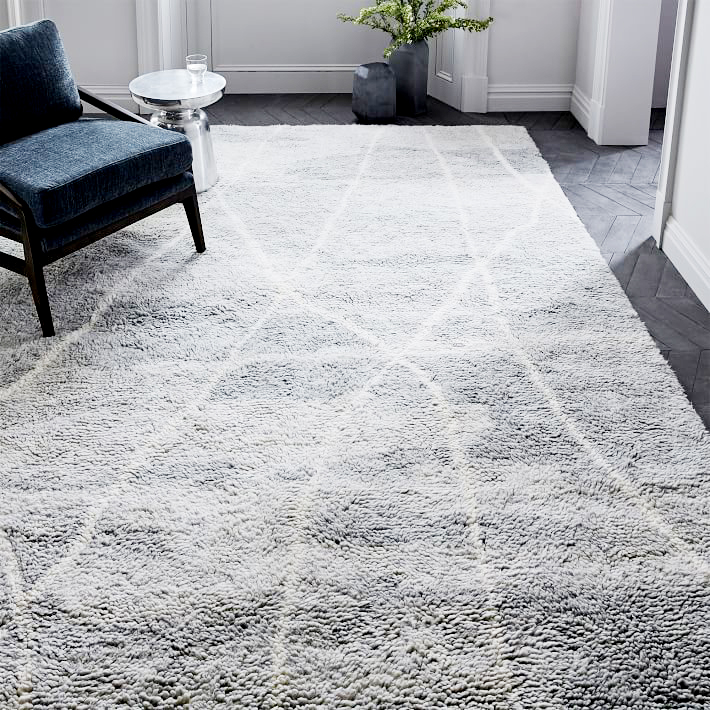 Medina Rug . A twist on vintage Moroccan rugs, this 100% wool stunner has a thick and cozy pile in a fresh color palette that feels at once sleek and tailored as well as aged and handmade. $399 and up.