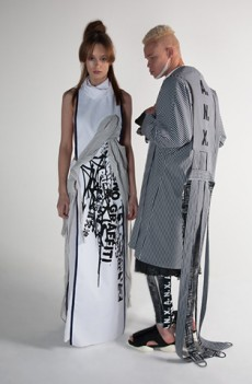 Inventive fabric mixing and detailing made the   A.N.X   collection stand out. Based around the idea of identity and rebellion, garments featured graffiti graphics inspired by dissident Hong Kong artist Tsang Tsou Choi. Genderless and trans-season we thought this collection reflected contemporary ideas of global chaos and uncertainty.