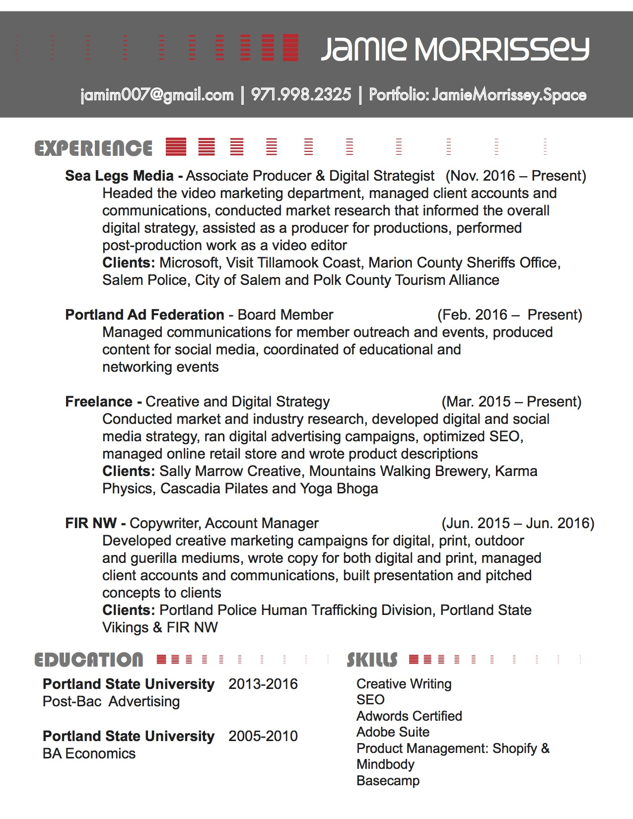 Resume — Jamie Morrissey Portfolio