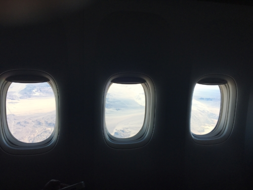 A final view from Row 3- Southwestern desert from three windows