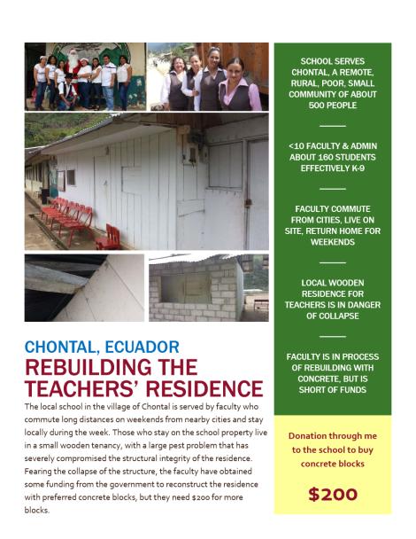 Funds For Residence Escuela Pedro de Alvarado Chontal