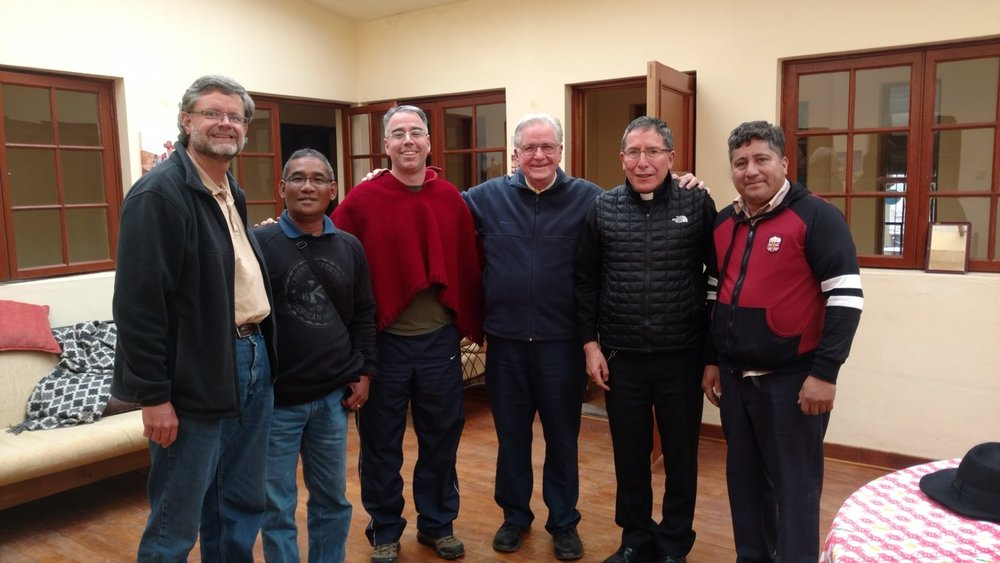 Frs. John, Leo, me, Pat, Bp Pedro, José at the center house in Sicuani