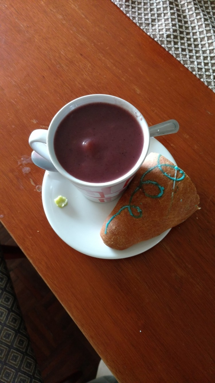 My colada morada with part of a guagua