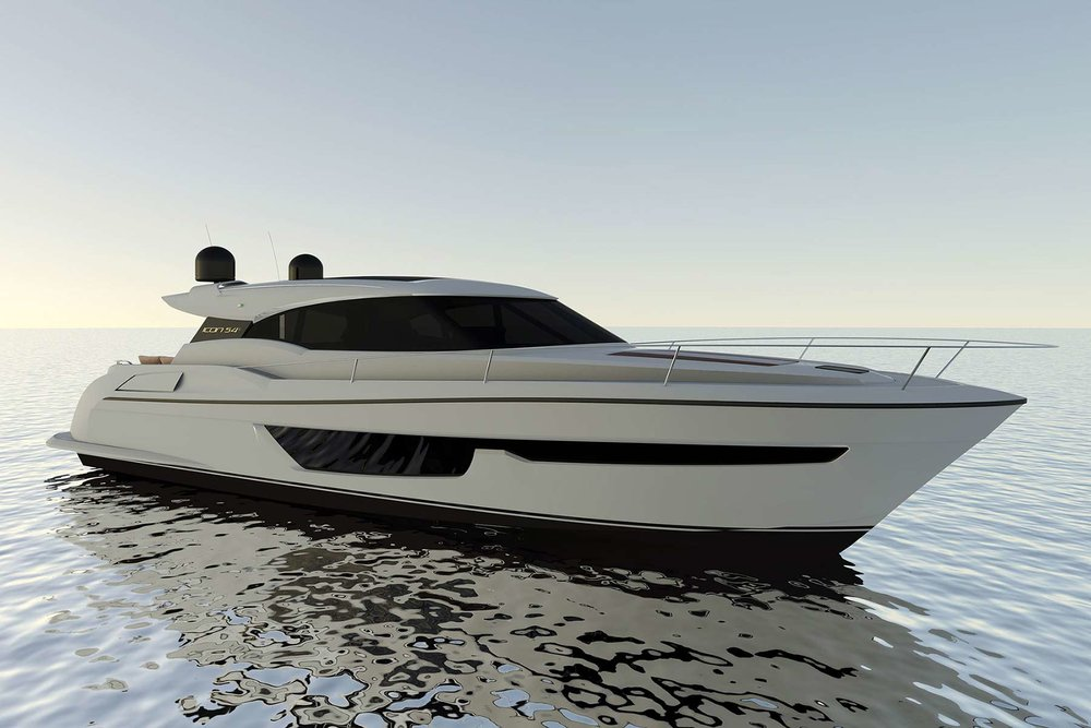 Hot off the drawing board is the new  ICON 54S motor yacht. This pedigree vessel combines form, function and performance to create a motor yacht which can only be described as simply superb.