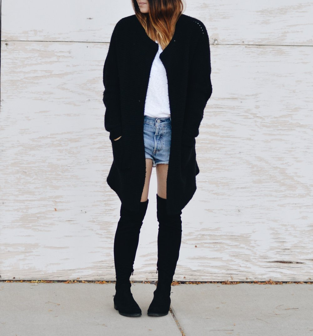 This outfit is one of my favorite ways to transition into fall. If it's breezy out, I'm safe because i have my knit cardigan, if its sweltering out, I'm safe because i have shorts on and can lose the cardigan if i have too.                                          KNIT CARDIGAN - DENIM SHORTS - OTK BOOTS