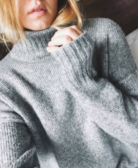 Cold weather = hair tuck + knit sweater H&M SWEATER