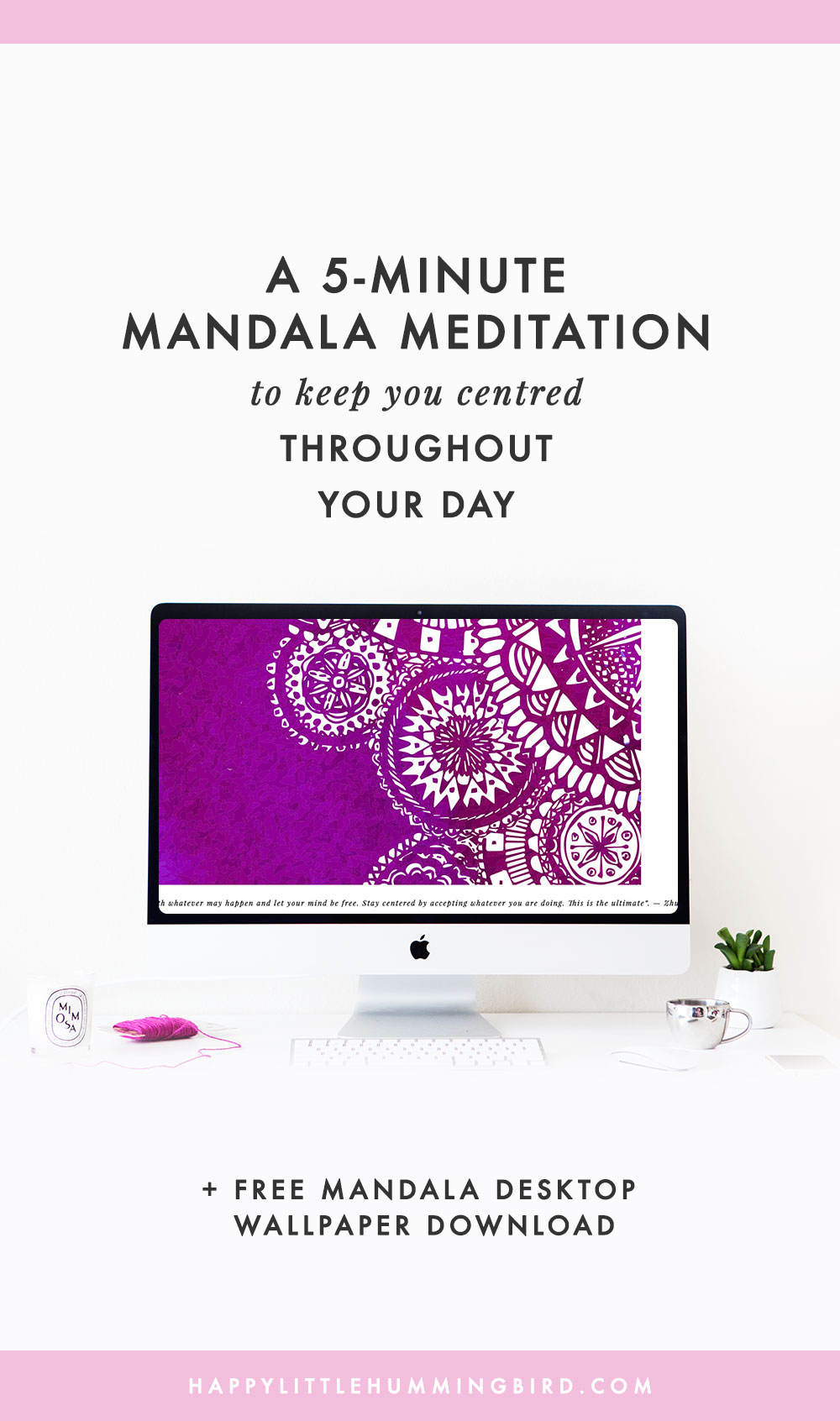 Having a bad day and need a breather? Follow this 5-minute meditation (with mandala desktop wallpaper to use as a tool during your meditation) to help you reflect and find your way back to centre.