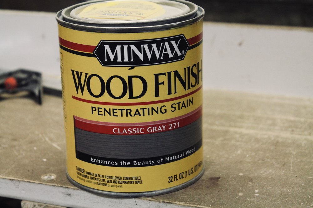 I really love the look of this Minwax Classic Gray on pine wood.