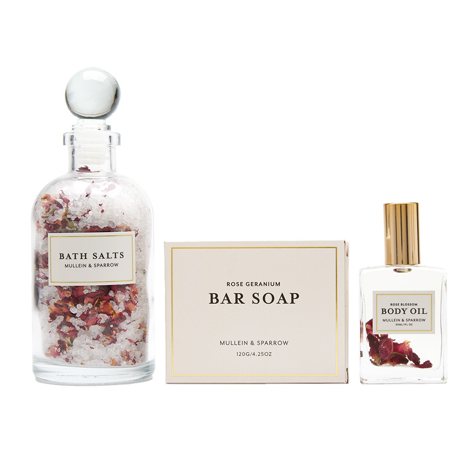 Rose Trio  $54.00   The ultimate treat for any rose lover! Set includes the 9 oz Rose Bath Salts, Rose Blossom Body Oil and Rose Bar Soap. Pamper yourself or a loved one.