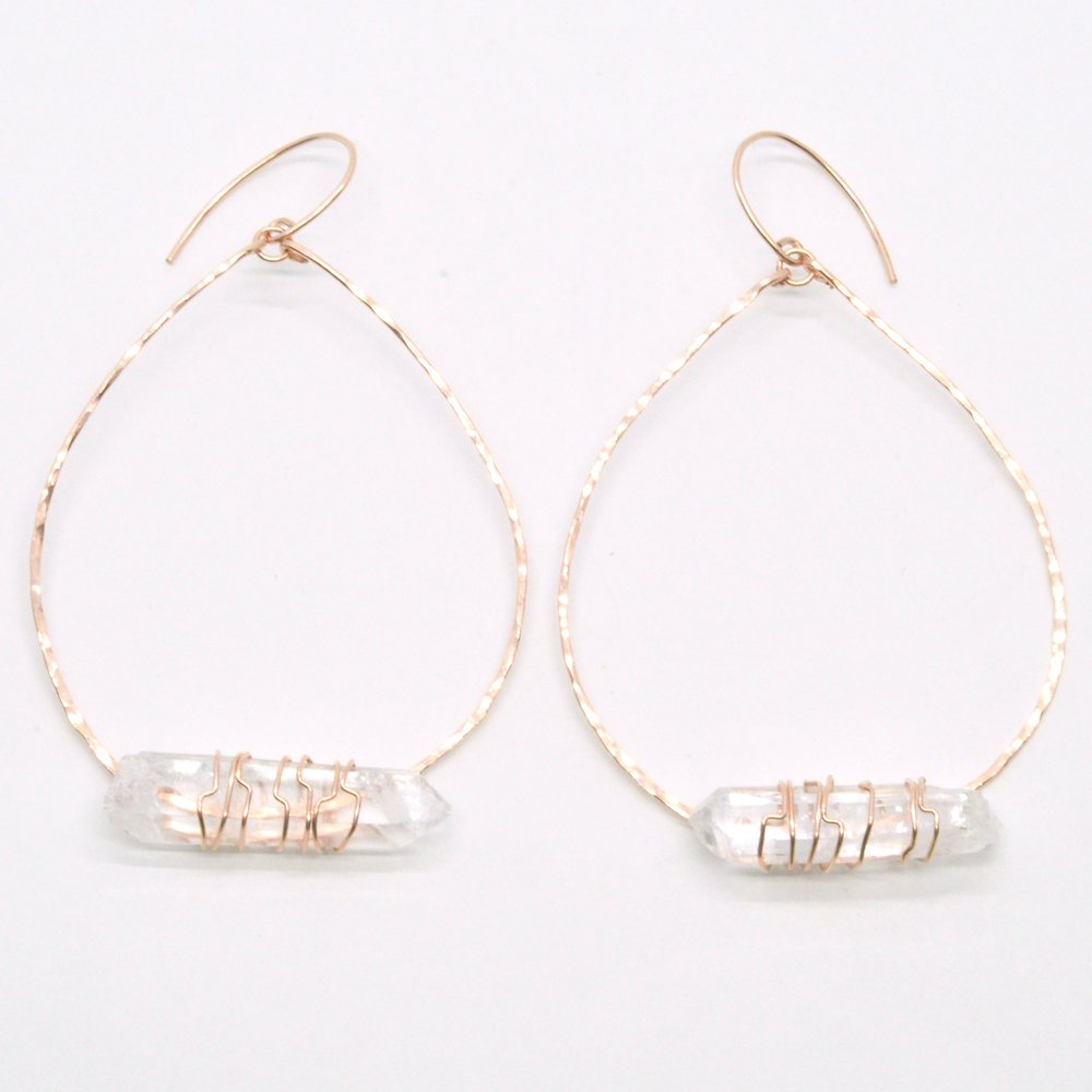 High Preistess Hoop Earrings - 14K Rose Gold Filled  $90.00  +14K Rose Gold Filled, 2 X1 3/4""