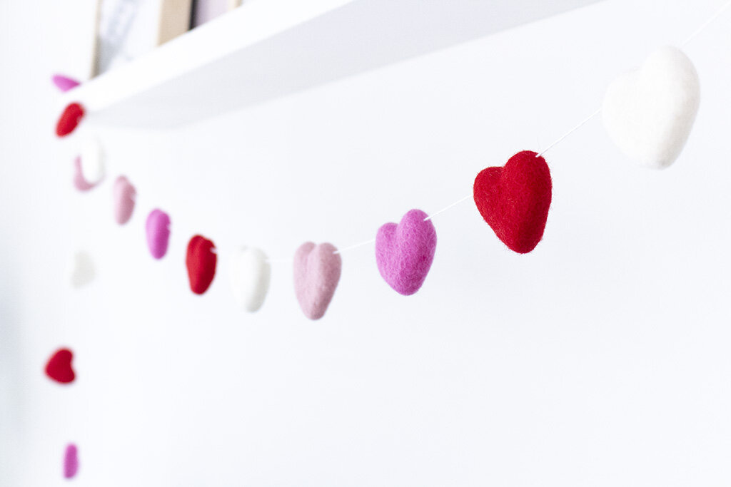 Valentine S Day Felt Heart Garland The Felting Dorcas