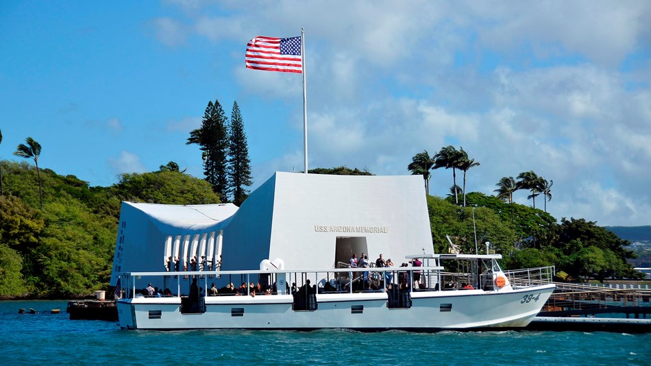 The USS Arizona Memorial is a beautiful tribute to the men who lost their lives. Image: National Park Service