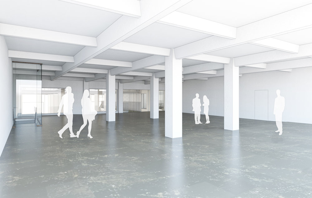 Imagen de la nueva galería del mezanine de The Main (cortesía de Land Office)
