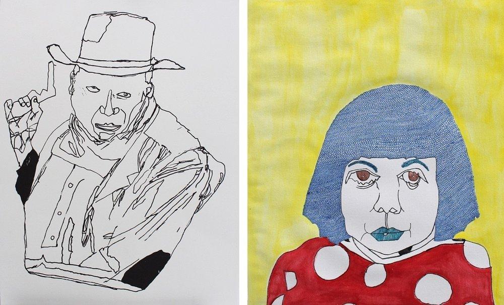 (left) John Wayne by Vickie Uyeda, (right) Yayoi Kusama by Milton Davis
