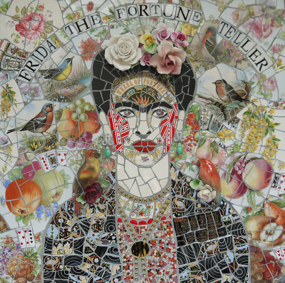 Frida the Fortune Teller   2017  Ceramic in board  61 cm x 61 cm  Susan Elliott